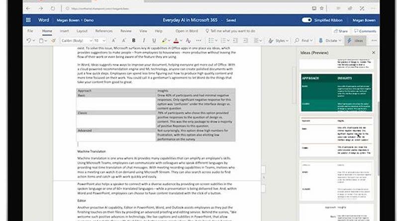 O recurso Ideas no Word usa o aprendizado de máquina e a inteligência do Microsoft Graph para ajudar o usuário a estilizar uma tabela para um documento profissional.